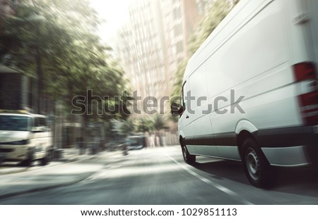 Delivery van in the city