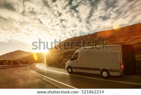 Delivery van on a country road