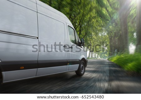 Delivery van on highway