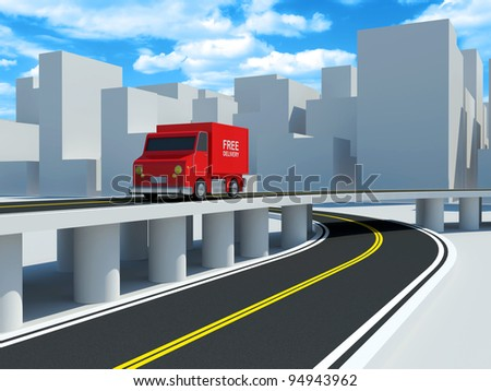 Delivery Van on road in the city (Delivery Concept)