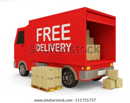 Delivery Van with a Boxes on white background (Free Delivery Concept)