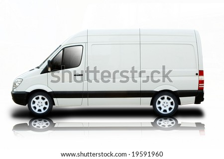 Delivery Van with Reflection - stock photo
