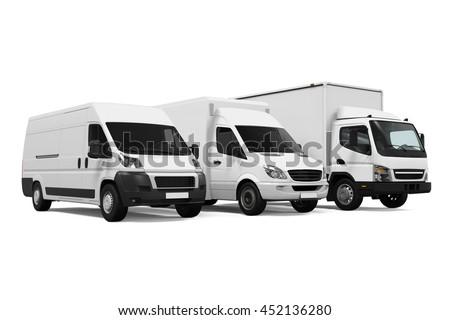 Delivery Vans. 3D rendering #452136280
