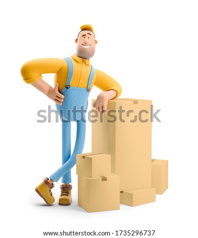 Deliveryman in overalls is standing with a bunch of parcels. 3d illustration. Cartoon character.