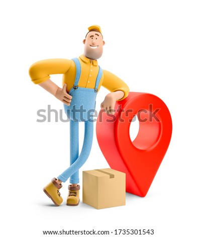 Deliveryman in overalls  with a parcel is standing next to a large pin. 3d illustration. Cartoon character. Parcel tracking concept.