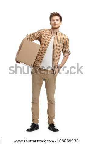 Deliveryman keeps the parcel, isolated, white background