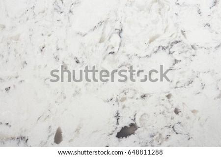 Delta White quartz macro texture, kitchen worktop close-up #648811288