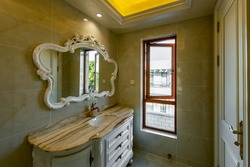 Deluxe bathroom room with beautiful marble countertops
