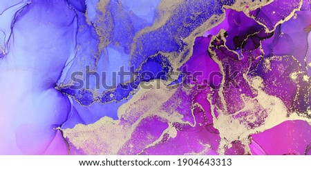 Deluxe Purple Pink Gold Ink Flow. Liquid layers of alcohol ink. Geode shapes and layers. Jewel tone colors. Wedding and celebration bright and colorful. Suit backgrounds, printed and web.  Stock photo ©