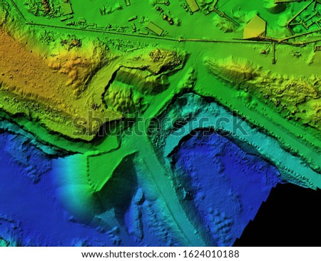 DEM - digital elevation model. GIS product made after proccesing aerial pictures taken from a drone. It shows mine with stockpiles that can be measures due to mapping Stok fotoğraf ©