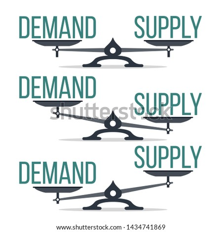 Demand And Supply Balance On Scale Set . Imbalance Between Demand And Offer Economic Comparison Collection Concept. Equilibrium And Financial Analysis Flat Cartoon Illustration