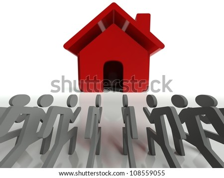Demand for houses on property market, business concept - stock photo
