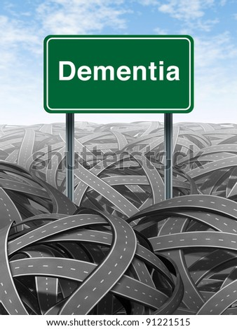 Dementia  and alzheimer Disease  medical concept with a green highway road sign and text for memory loss and human brain problems with tangled roads and twisted streets a symbol of confusion.