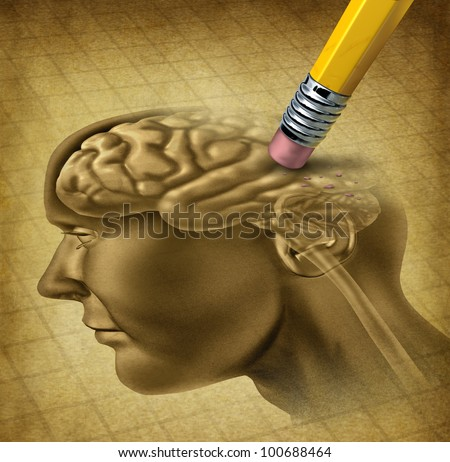 Dementia disease and a loss of brain function and memories as alzheimers as a medical health care icon of neurology and mental problems with a pencil erasing the head anatomy on a grunge parchment.