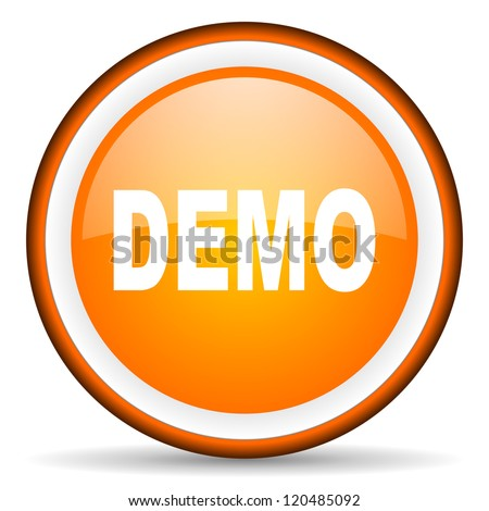 demo orange glossy circle icon on white background - stock photo