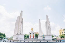 Democracy monument with blue sky in Bangkok, Thailand. The Democracy Monument is a historical of constitution monument