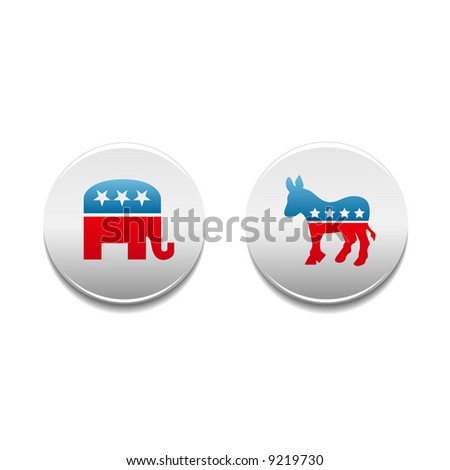 Democrat and Republican donkey and elephant political symbol buttons