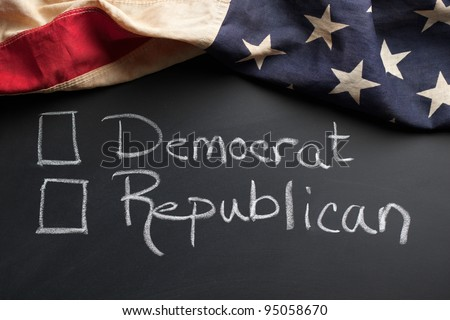 Democrat and Republican sign with vintage American flag - stock photo