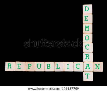 Democrat and republican spelled in a crossword on a black background