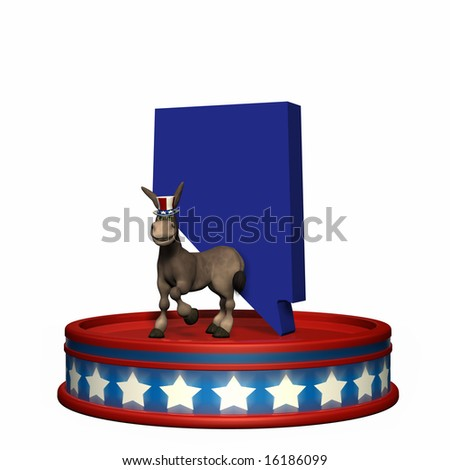 Democrat Platform - Nevada DNC Political Donkey standing on a red, white, and blue platform in front of a 3D Nevada. Isolated on a white background.