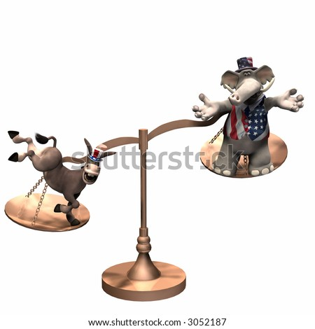 Democrat represented by a donkey and a Republican represented by an elephant on brass scales with the weight in favor of the Democrat. Isolated on a white background