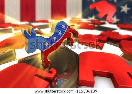 Democrat Symbol Kicks Republican Symbol on a Chess Board