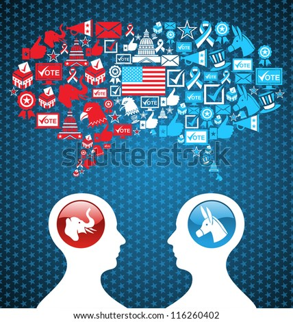 Democratic and  Republican social networks political rally. USA elections discussion: two men facing heads with icons speech bubbles.