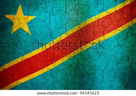 Democratic Republic of The Congo flag on a cracked grunge background