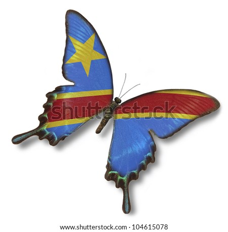 Democratic Republic of the Congo flag on butterfly isolated on white - stock photo