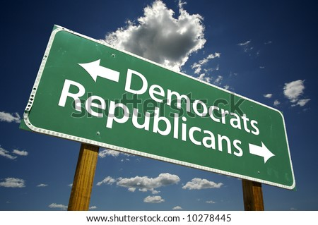 Democrats, Republicans Road Sign with dramatic blue sky and clouds.