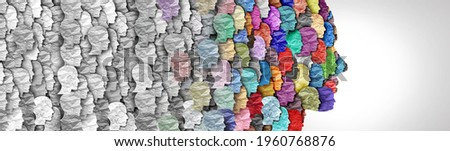 Demographic change and changing demography as a large group of people as a changing diversity in a population in a 3D illustration style. Zdjęcia stock ©