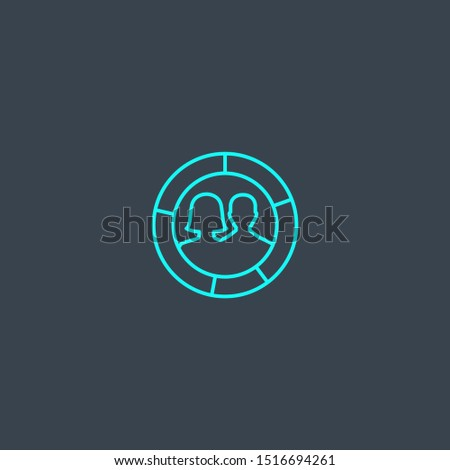demographics concept blue line icon. Simple thin element on dark background. demographics concept outline symbol design. Can be used for web and mobile UI/UX