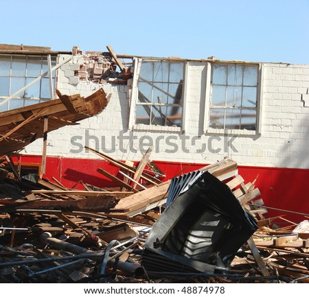 demolished building with debris and rubble