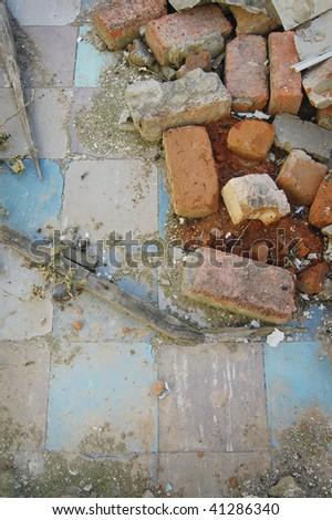 Demolished kitchen floor