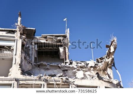 Demolishing building in Kiel, Germany - stock photo