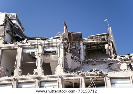 Demolishing building in Kiel, Germany