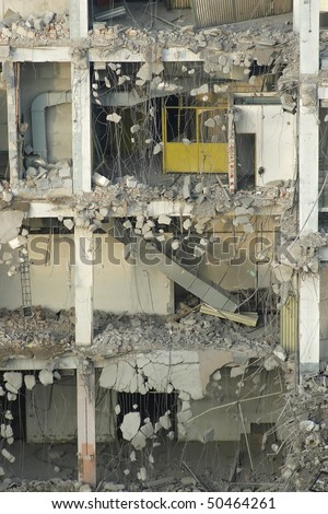 demolition in detail -  cross-section of the building