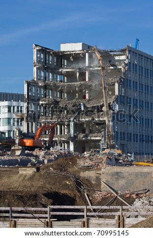 Demolition of a building at construction site