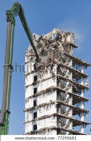 Demolition of a highrise building