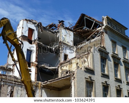 Demolition of buildings in Hanover, Lower Saxony, Germany