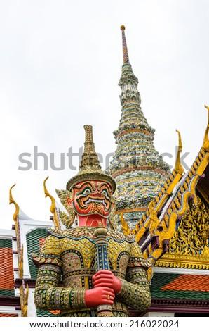 Demon Guardian at wat Prakaew in Bangkok Thailand