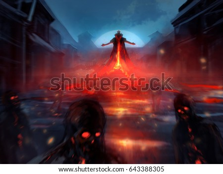 Stock Photo Demon lord with zombies. Illustration of a demon lord summoning evil zombie forces with fire effects and blurry mist.