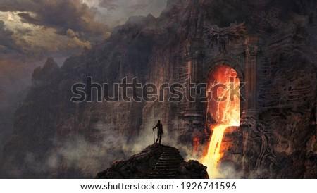 Demonic gate with lava river - digital illustration Stock photo ©