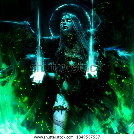 Demonic handsome angel girl with four black wings, surrounded by green fire, looks imploringly into the sky her body is exhausted, she repents. 2D illustration. Foto stock ©