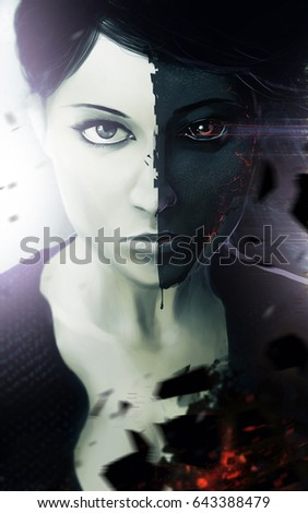 Stock Photo Demonic woman portrait. Sci-fi illustration of a demonic fantasy woman portrait with half face blackened and glowing fire effects.