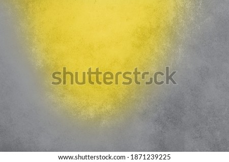 Demonstrating trendy Color of the Year 2021. Illuminating Yellow and Ultimate Gray. Duotone concrete cement wall texture. Background with copy space for design. Color Psychology. Depression treatment.