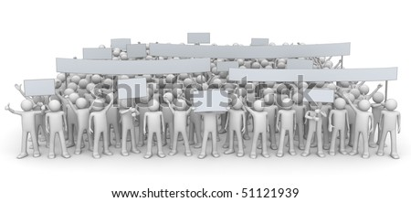 Demonstration - huge crowd (3d characters isolated on white background series)