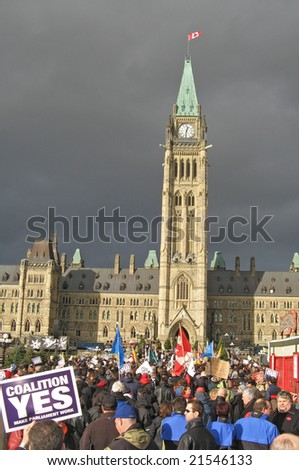 Demonstration in favour of the Opposition Coalition in front of Canada's Parliament Buildings, December 4, 2008