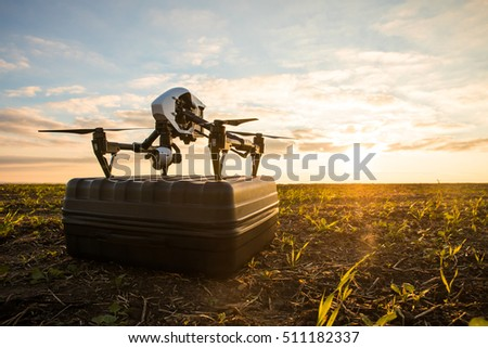Shutterstock Demonstration of posibilities of drone. Copter outdoors  on box