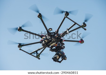 Demonstration performances of radio-controlled toys. Demonstration and training for people management quadrocopters. Kiev Ukraine 06.06.2015